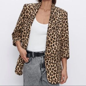 Zara animal print blazer size small
